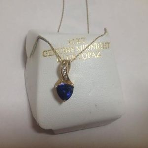 Jewelry - 10KT Gold Genuine Blue Topaz Necklace, MO345